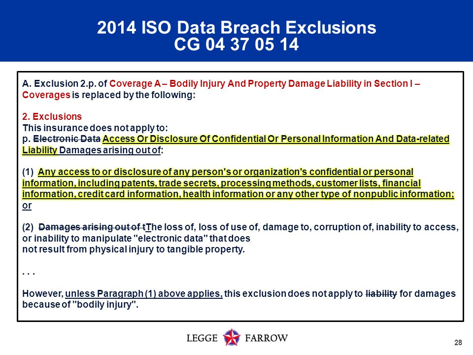 28 2014 ISO Data Breach Exclusions CG 04 37 05 14