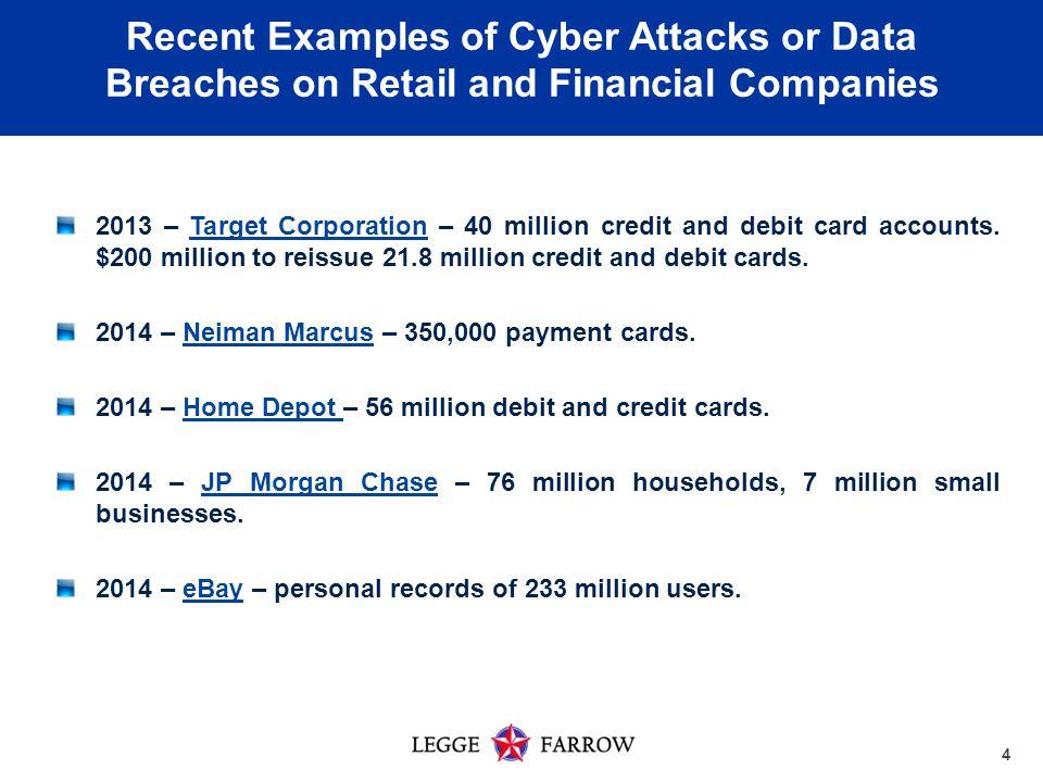 4 2013 – Target Corporation – 40 million credit and debit card accounts.
