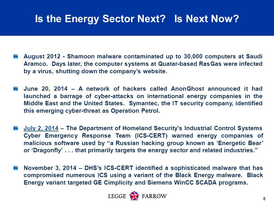 8 August 2012 - Shamoon malware contaminated up to 30,000 computers at Saudi Aramco.