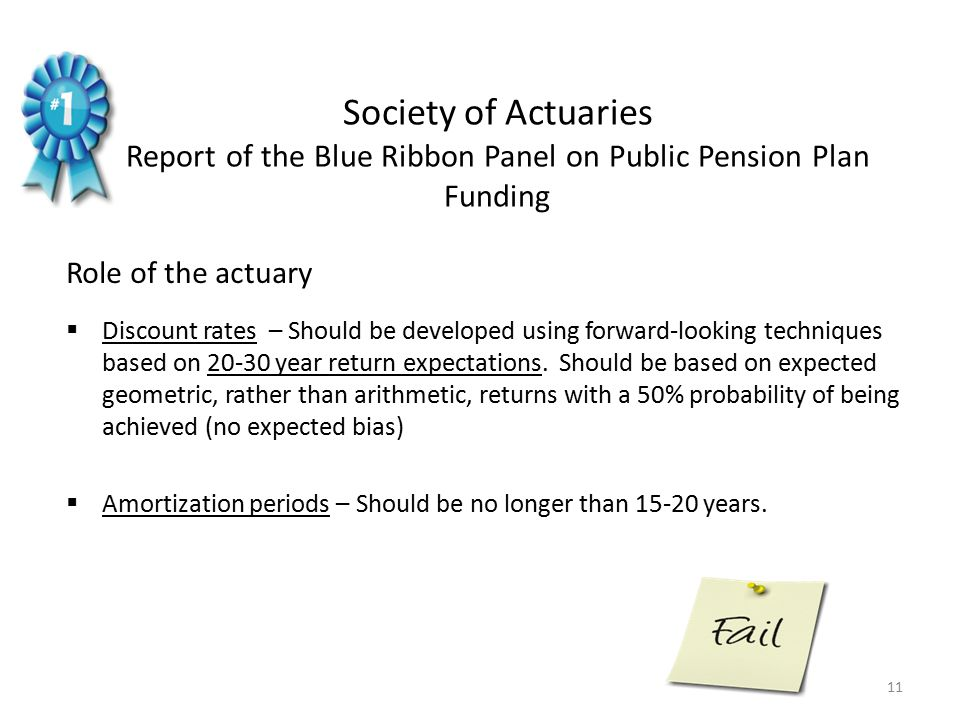 Role of the actuary  Discount rates – Should be developed using forward-looking techniques based on 20-30 year return expectations.