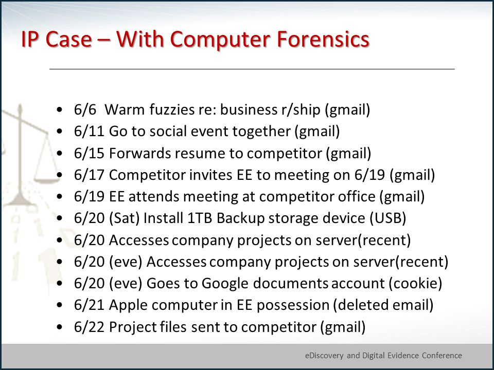 28 eDiscovery and Digital Evidence Conference © Michael Arkfeld 2013 IP Case – With Computer Forensics 6/6 Warm fuzzies re: business r/ship (gmail) 6/11 Go to social event together (gmail) 6/15 Forwards resume to competitor (gmail) 6/17 Competitor invites EE to meeting on 6/19 (gmail) 6/19 EE attends meeting at competitor office (gmail) 6/20 (Sat) Install 1TB Backup storage device (USB) 6/20 Accesses company projects on server(recent) 6/20 (eve) Accesses company projects on server(recent) 6/20 (eve) Goes to Google documents account (cookie) 6/21 Apple computer in EE possession (deleted email) 6/22 Project files sent to competitor (gmail)