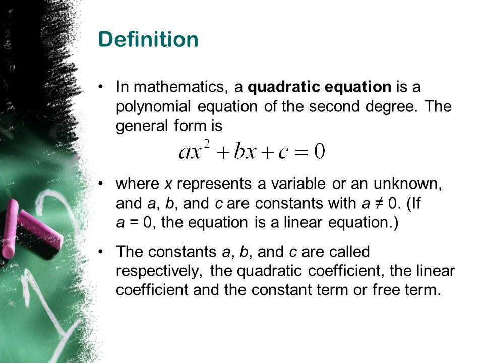 Quadratic & Roots Quadratic : A polynomial of degree=2 y= ax 2 +bx+c is a quadratic equation.
