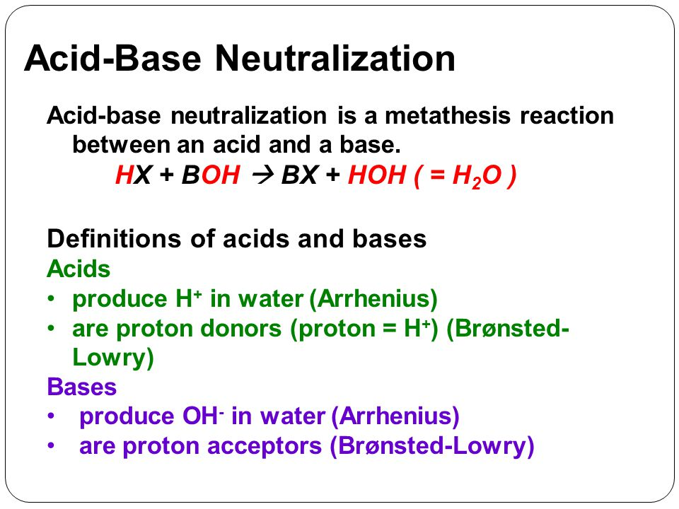 Acid-Base Neutralization Acid-base neutralization is a metathesis reaction between an acid and a base.
