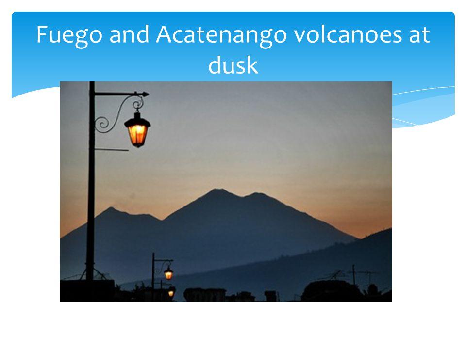 Fuego and Acatenango volcanoes at dusk