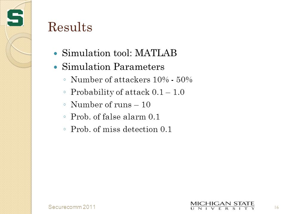 Results Simulation tool: MATLAB Simulation Parameters ◦ Number of attackers 10% - 50% ◦ Probability of attack 0.1 – 1.0 ◦ Number of runs – 10 ◦ Prob.