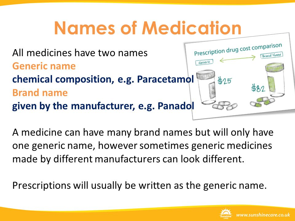 Names of Medication All medicines have two names Generic name chemical composition, e.g. Paracetamol Brand name given by the manufacturer, e.g. Panado