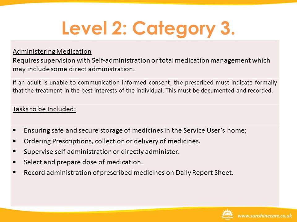 Level 2: Category 3.Permanent/regular medication recorded here.