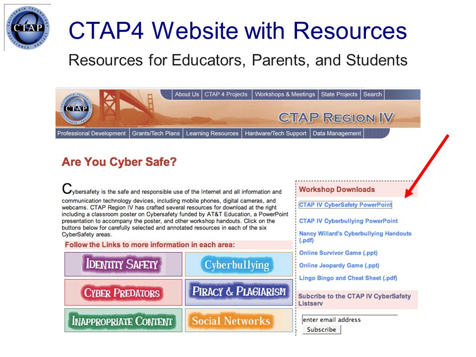 CTAP4 Website with Resources Resources for Educators, Parents, and Students