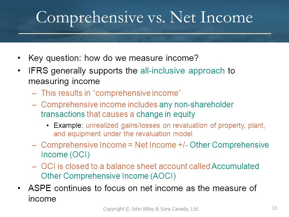 10 Copyright © John Wiley & Sons Canada, Ltd. Comprehensive vs. Net Income Key question: how do we measure income? IFRS generally supports the all-inc