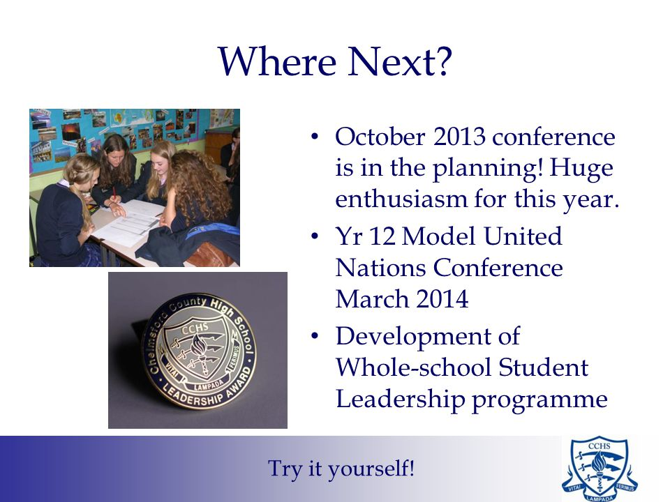 Where Next.October 2013 conference is in the planning.
