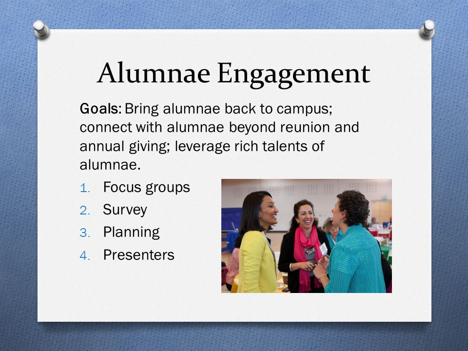 Alumnae Engagement Goals: Bring alumnae back to campus; connect with alumnae beyond reunion and annual giving; leverage rich talents of alumnae.