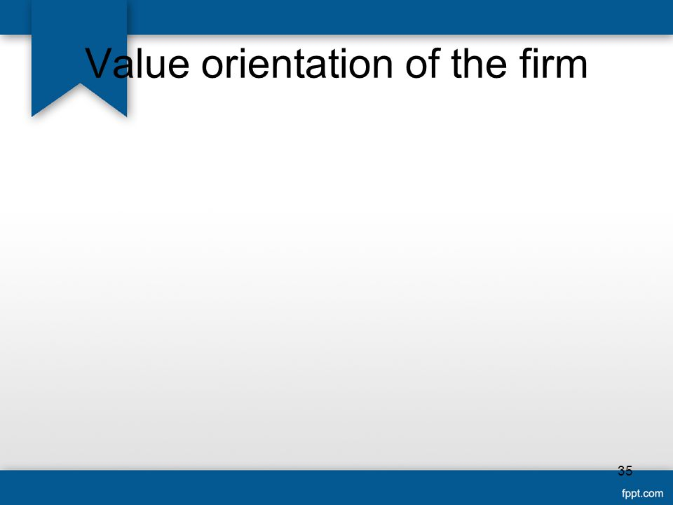 Value orientation of the firm 35
