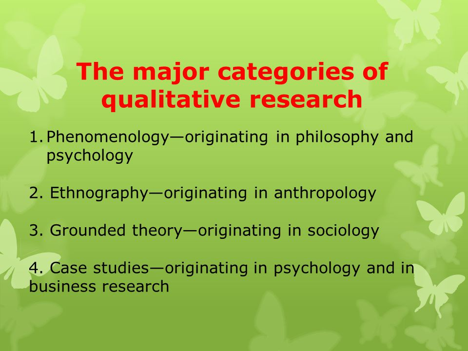 The major categories of qualitative research 1.Phenomenology—originating in philosophy and psychology 2. Ethnography—originating in anthropology 3. Gr