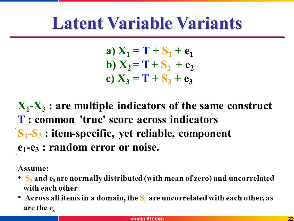 22 Latent Variable Variants a) X 1 = T + S 1 + e 1 b) X 2 = T + S 2 + e 2 c) X 3 = T + S 3 + e 3 X 1 -X 3 : are multiple indicators of the same construct T : common true score across indicators S 1 -S 3 : item-specific, yet reliable, component e 1 -e 3 : random error or noise.
