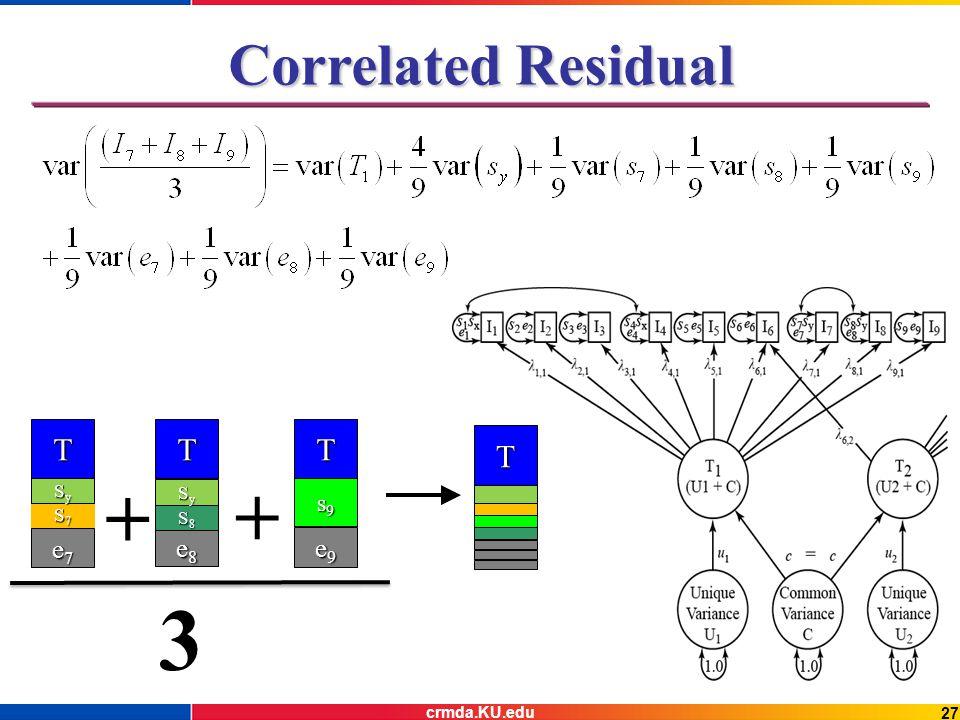 27 Correlated Residual T e8e8e8e8 T s9s9s9s9 e9e9e9e9 + 3 T S7S7S7S7 e7e7e7e7 + T SySySySy S8S8S8S8 SySySySy crmda.KU.edu