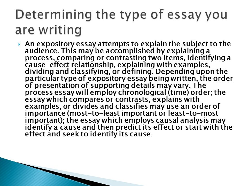  An expository essay attempts to explain the subject to the audience.