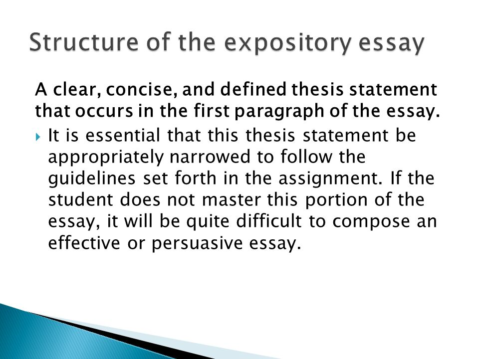 A clear, concise, and defined thesis statement that occurs in the first paragraph of the essay.