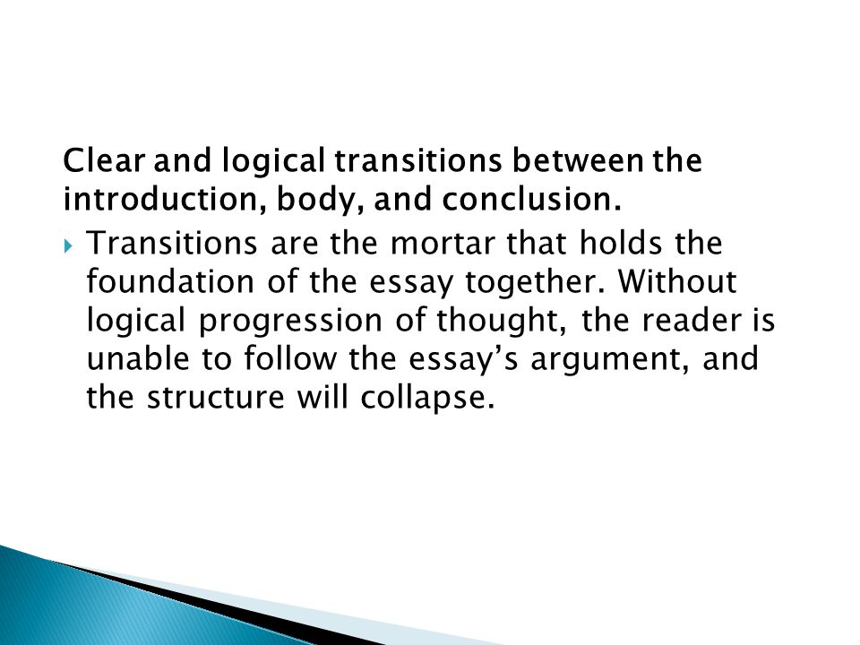 Clear and logical transitions between the introduction, body, and conclusion.