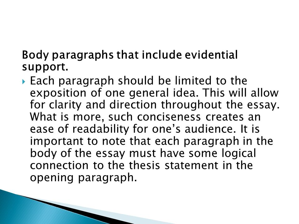 Body paragraphs that include evidential support.