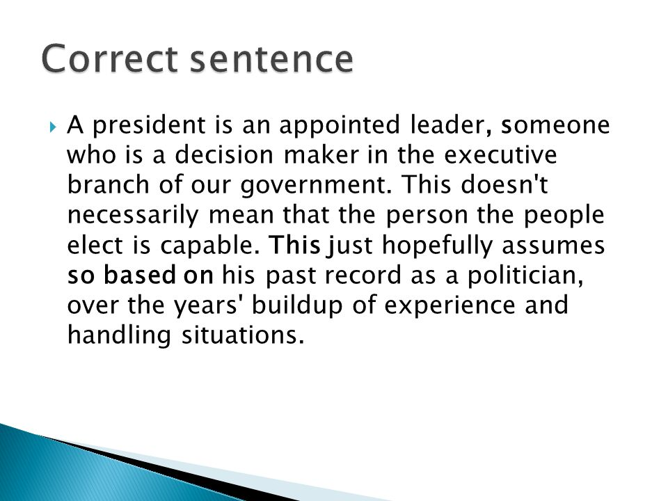  A president is an appointed leader, someone who is a decision maker in the executive branch of our government.