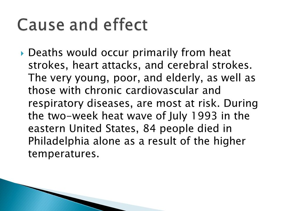  Deaths would occur primarily from heat strokes, heart attacks, and cerebral strokes.