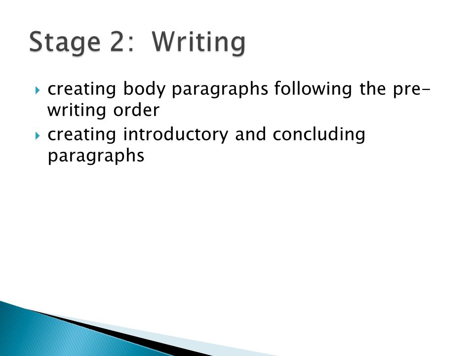  creating body paragraphs following the pre- writing order  creating introductory and concluding paragraphs