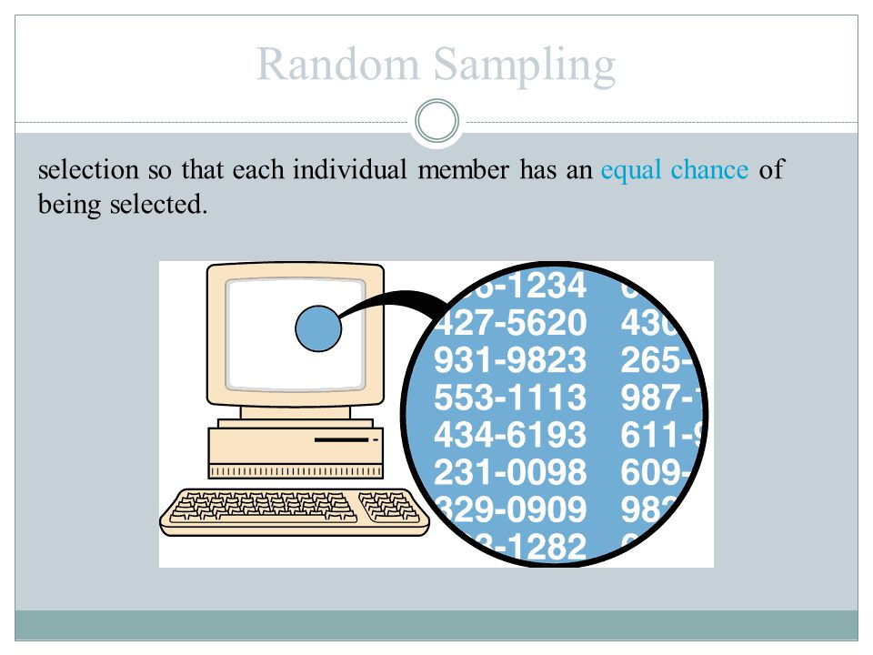 selection so that each individual member has an equal chance of being selected. Random Sampling
