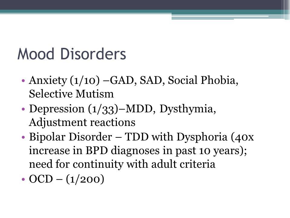 Mood Disorders Anxiety (1/10) –GAD, SAD, Social Phobia, Selective Mutism Depression (1/33)–MDD, Dysthymia, Adjustment reactions Bipolar Disorder – TDD