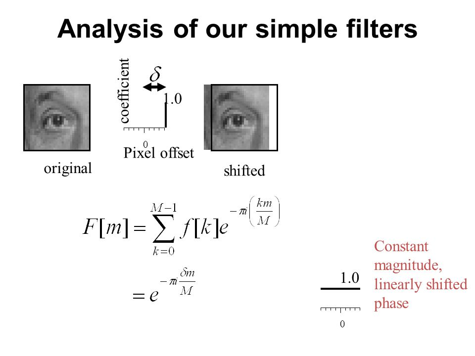 Analysis of our simple filters 0 Pixel offset coefficient original 1.0 shifted 0 1.0 Constant magnitude, linearly shifted phase