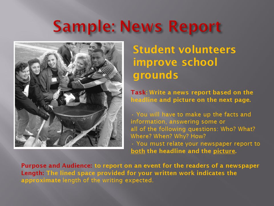 Task: Write a news report based on the headline and picture on the next page.