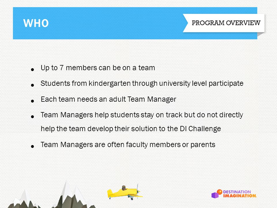 Up to 7 members can be on a team Students from kindergarten through university level participate Each team needs an adult Team Manager Team Managers h