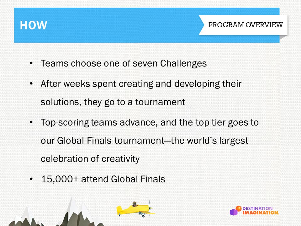 Teams choose one of seven Challenges After weeks spent creating and developing their solutions, they go to a tournament Top-scoring teams advance, and