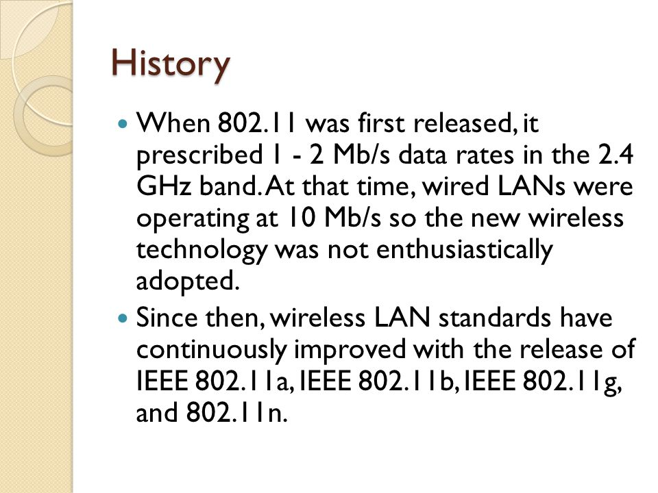 History When 802.11 was first released, it prescribed 1 - 2 Mb/s data rates in the 2.4 GHz band.