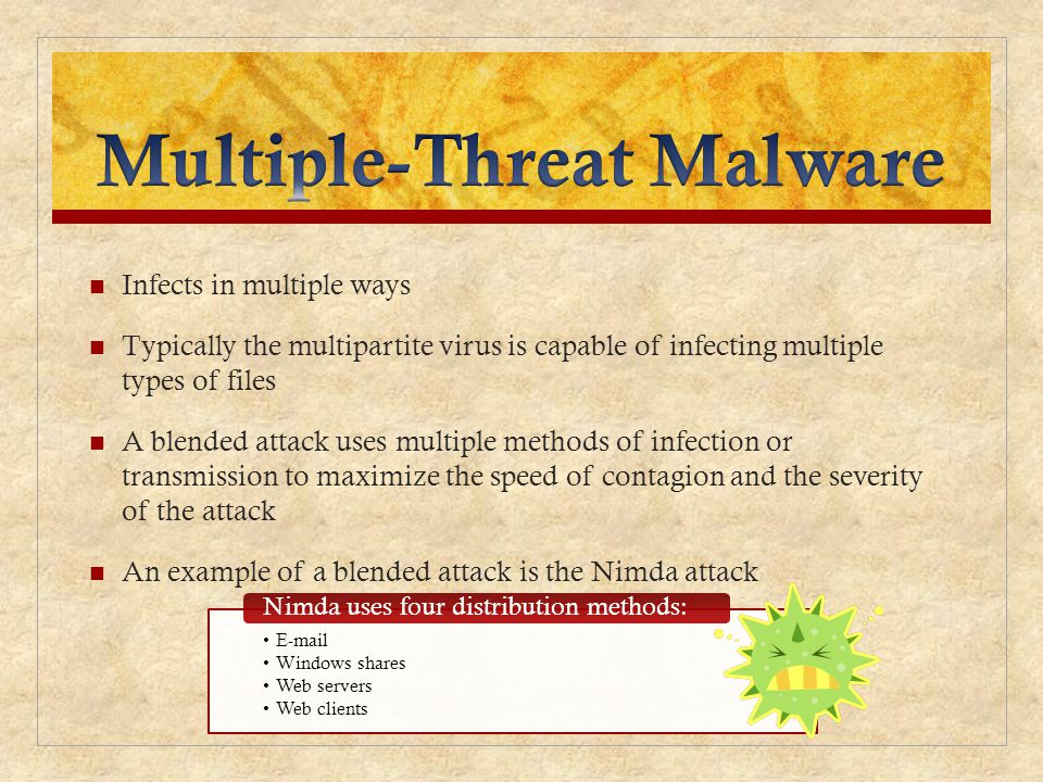 Infects in multiple ways Typically the multipartite virus is capable of infecting multiple types of files A blended attack uses multiple methods of in