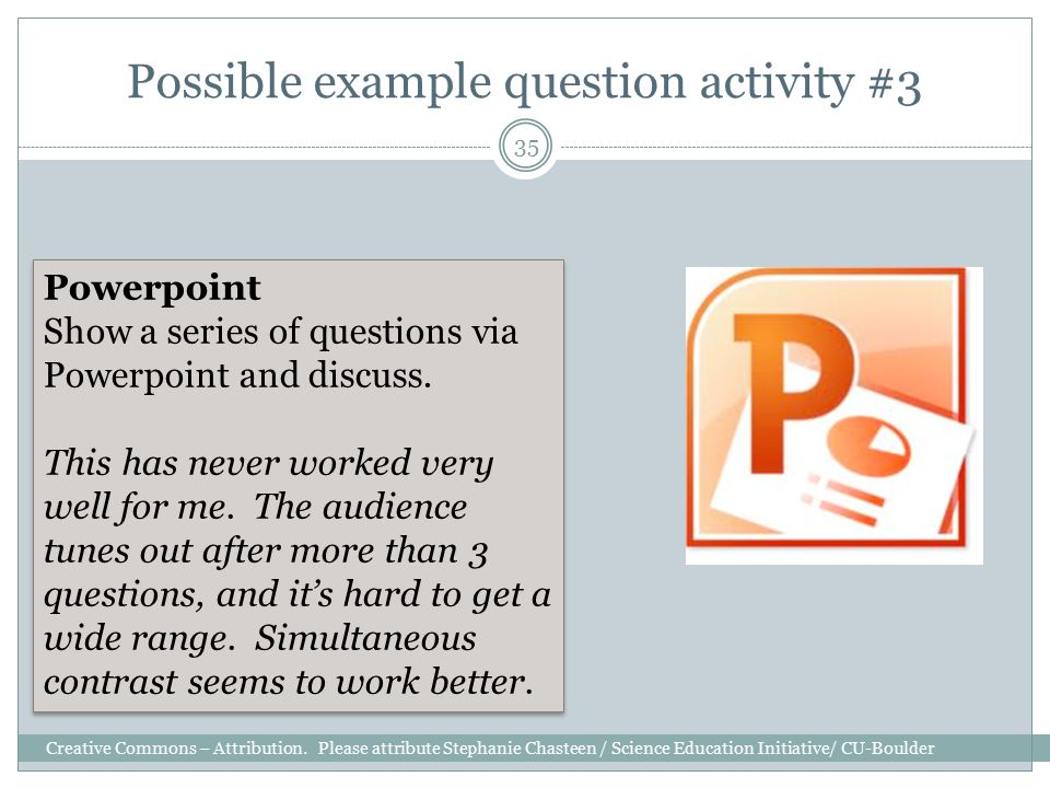 Possible example question activity #3 Creative Commons – Attribution.