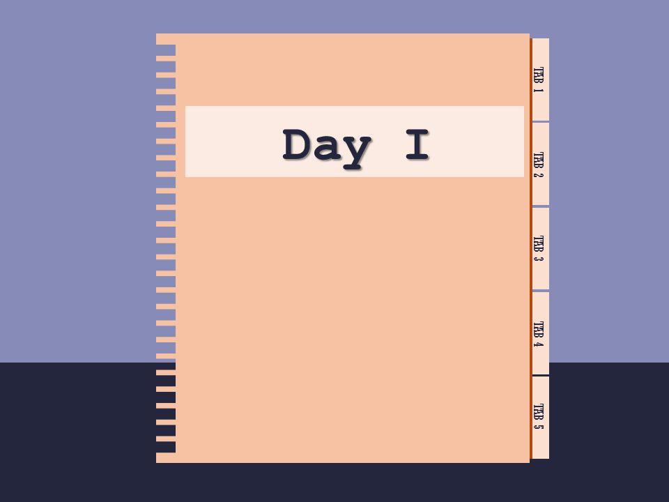 TAB 1 TAB 2 TAB 3 TAB 4 TAB 5 Day I Module 1