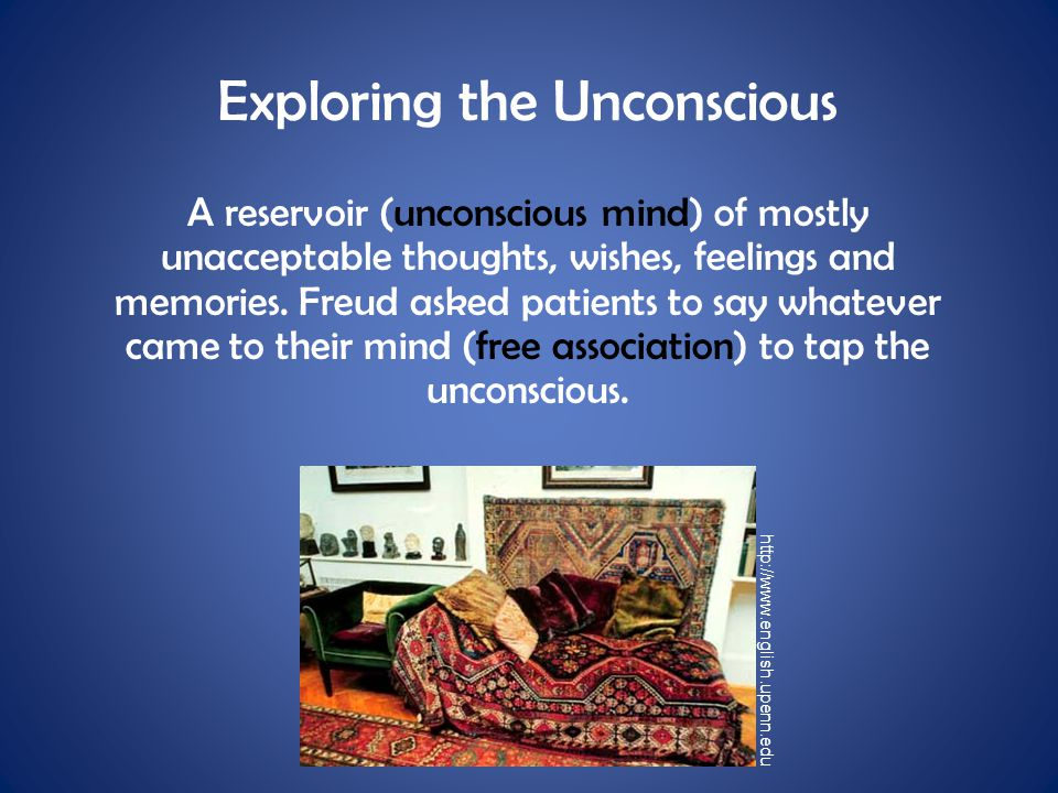 Exploring the Unconscious A reservoir (unconscious mind) of mostly unacceptable thoughts, wishes, feelings and memories. Freud asked patients to say w