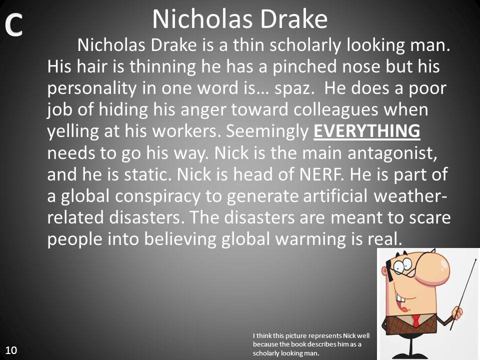 Nicholas Drake Nicholas Drake is a thin scholarly looking man.