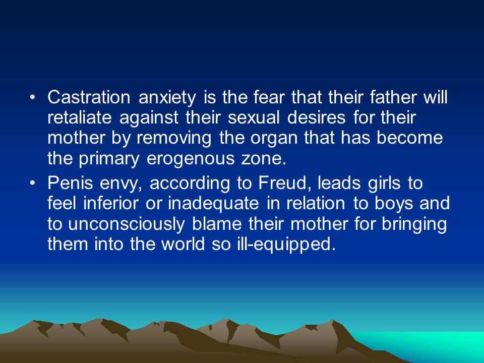 Castration anxiety is the fear that their father will retaliate against their sexual desires for their mother by removing the organ that has become th