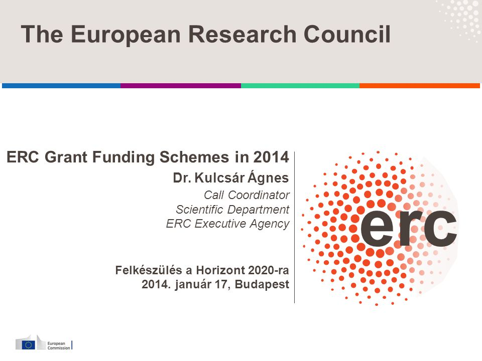 The European Research Council ERC Grant Funding Schemes in 2014 Dr. Kulcsár Ágnes Call Coordinator Scientific Department ERC Executive Agency Felkészü