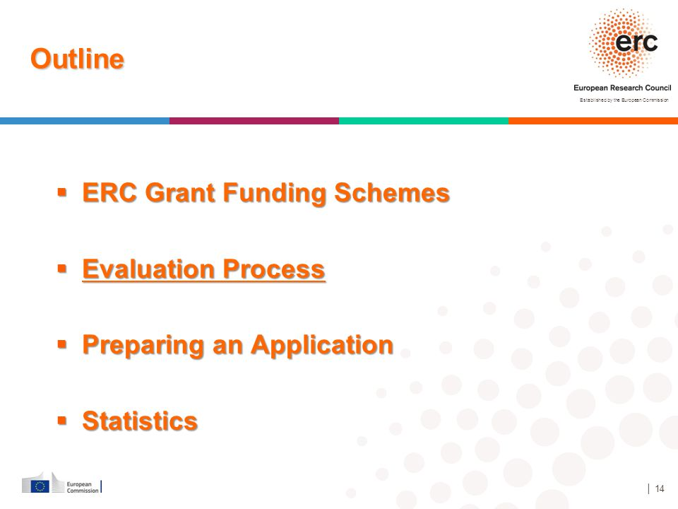 Established by the European Commission │ 14 Outline  ERC Grant Funding Schemes  Evaluation Process  Preparing an Application  Statistics