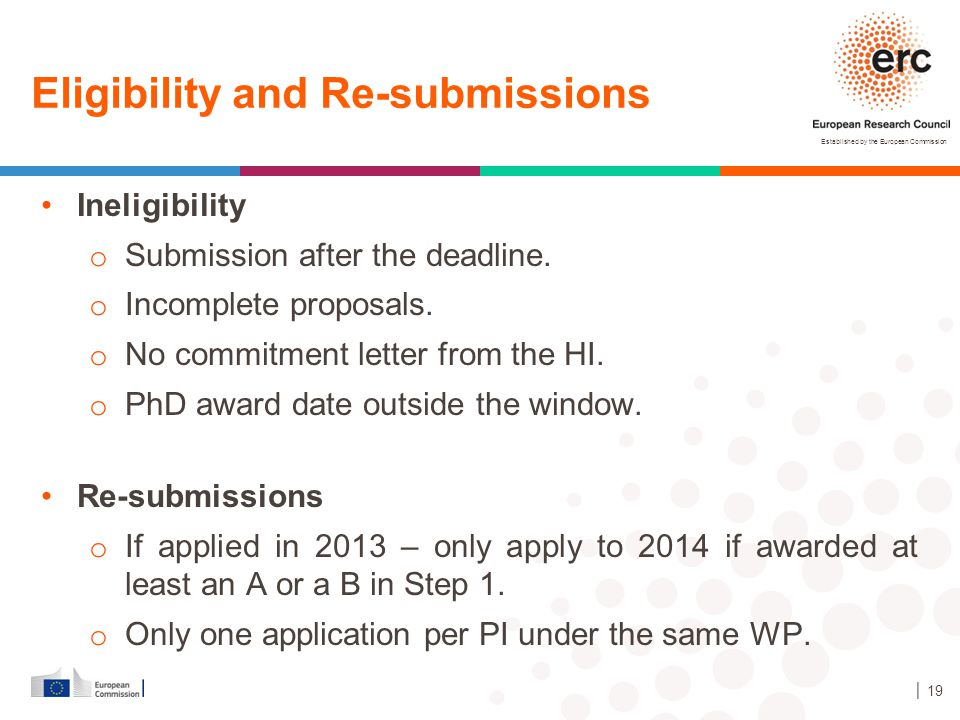 Established by the European Commission Ineligibility o Submission after the deadline. o Incomplete proposals. o No commitment letter from the HI. o Ph