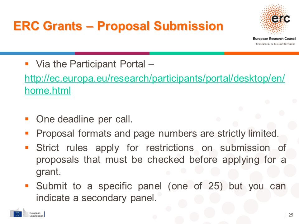 Established by the European Commission │ 25 ERC Grants – Proposal Submission  Via the Participant Portal – http://ec.europa.eu/research/participants/