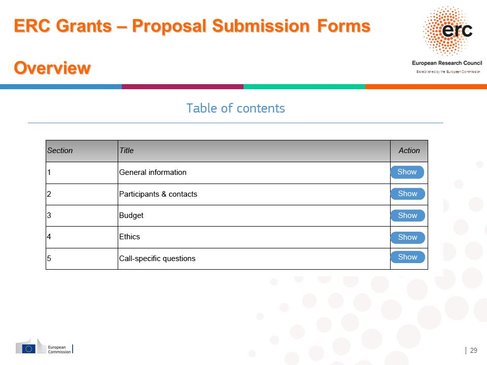 Established by the European Commission │ 29 ERC Grants – Proposal Submission Forms Overview