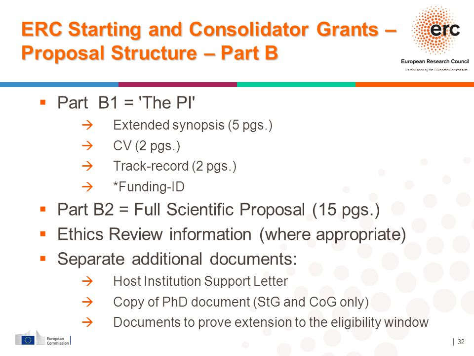 Established by the European Commission │ 32 ERC Starting and Consolidator Grants – Proposal Structure – Part B  Part B1 = 'The PI'  Extended synopsi