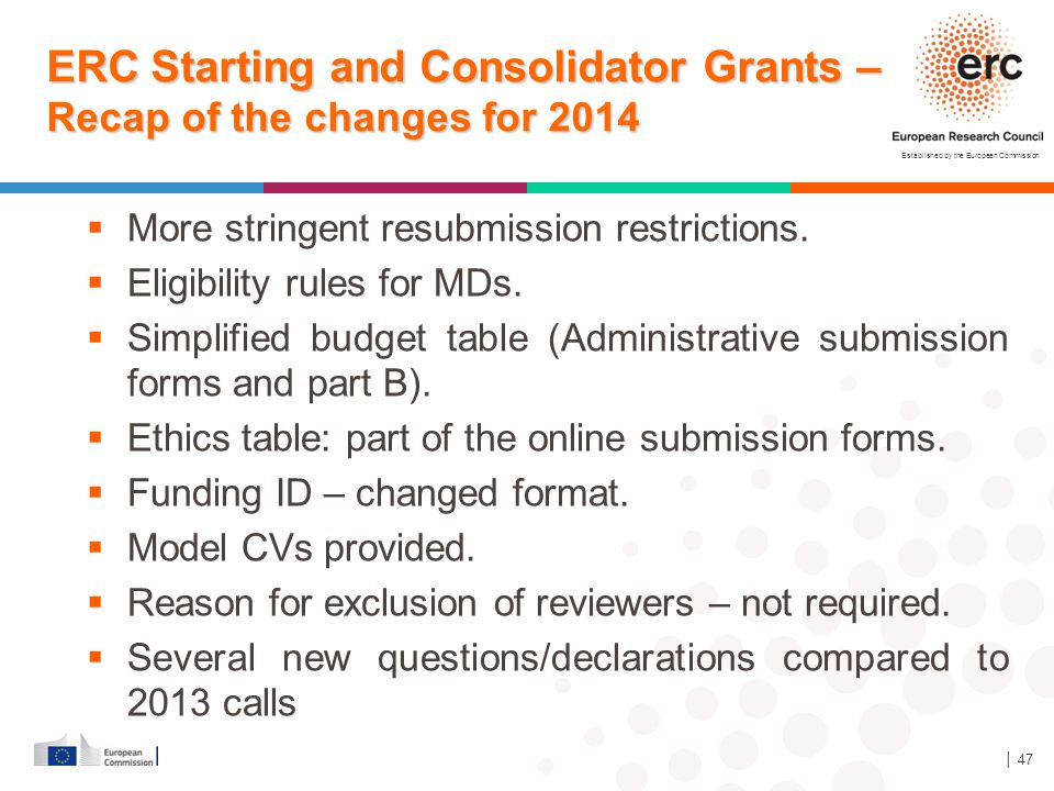 Established by the European Commission │ 47 ERC Starting and Consolidator Grants – Recap of the changes for 2014  More stringent resubmission restric