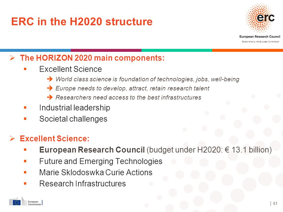 Established by the European Commission ERC in the H2020 structure  The HORIZON 2020 main components:  Excellent Science  World class science is fou