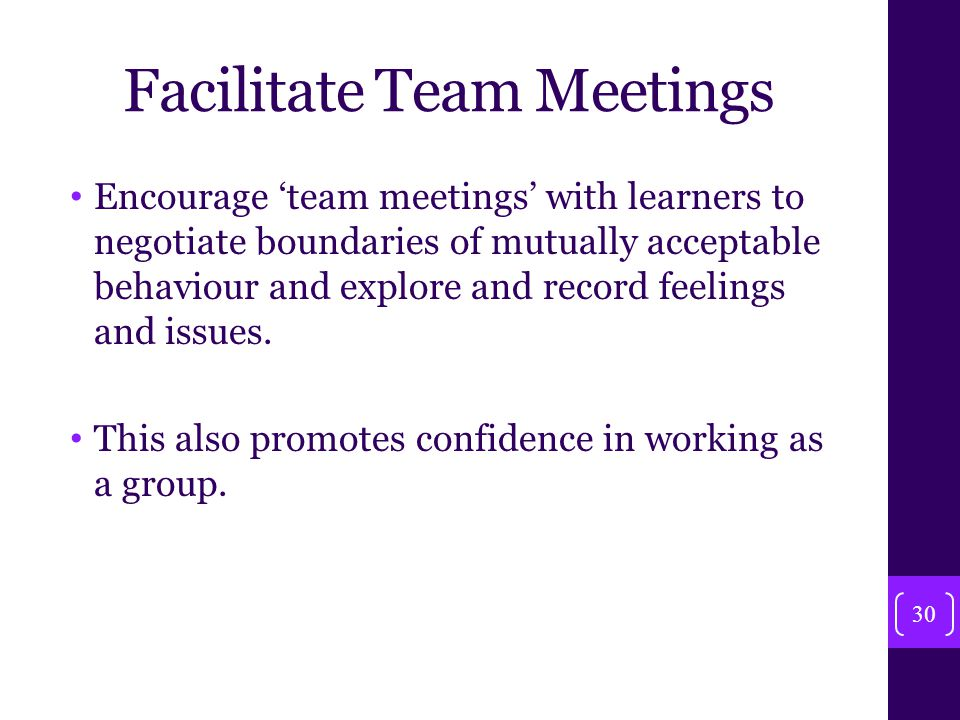 Facilitate Team Meetings Encourage 'team meetings' with learners to negotiate boundaries of mutually acceptable behaviour and explore and record feelings and issues.