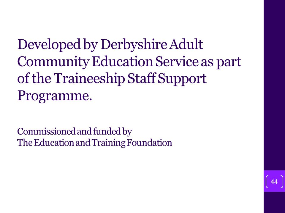 Developed by Derbyshire Adult Community Education Service as part of the Traineeship Staff Support Programme.