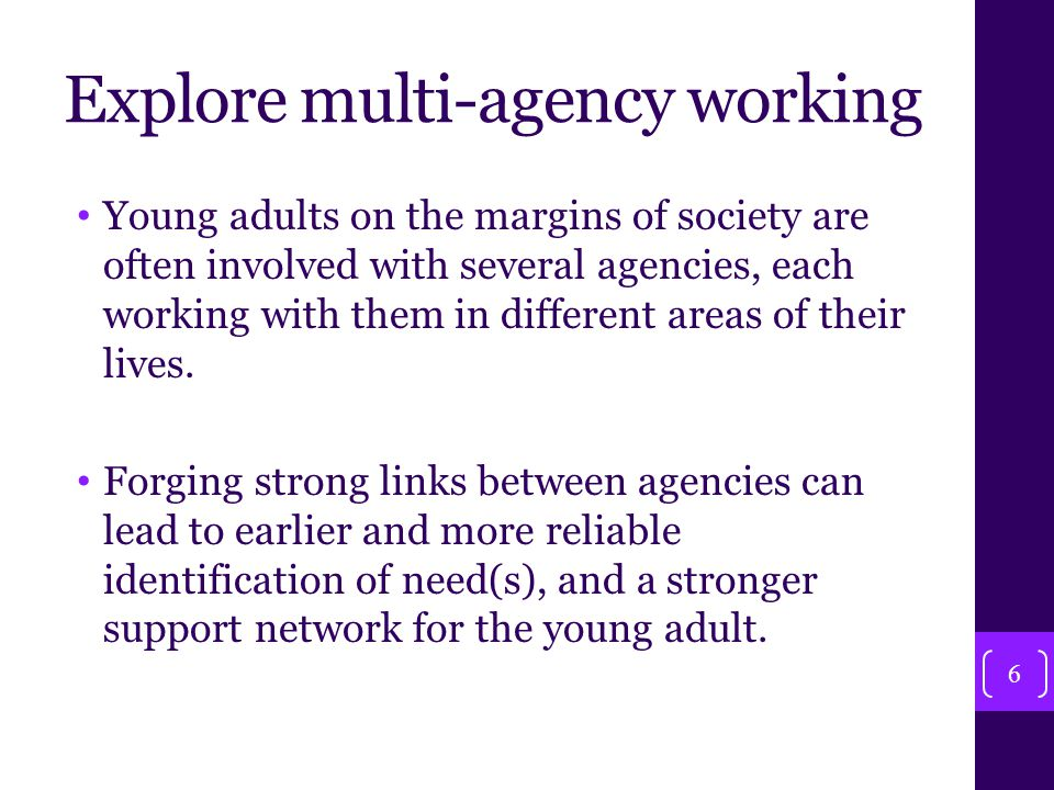 Explore multi-agency working Young adults on the margins of society are often involved with several agencies, each working with them in different areas of their lives.